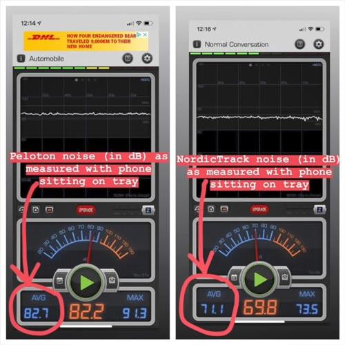Peloton-vs-norditrack-noise-measure-in-db 4evafit.com
