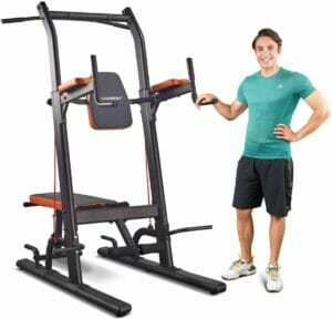 HARISON Multifunction Power Tower Pull Up Dip Station with Bench Adjustable Height